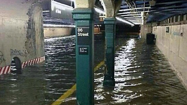 A subway station in New York is shown flooded with water during Hurricane Sandy.