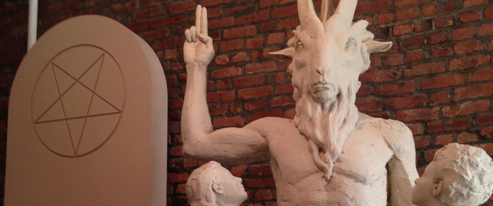 "PHOTO: Unfinished statue of Satan as Baphomet, a ""goat-headed, angel-winged, androgynous creature."""