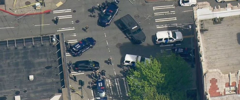 PHOTO: The crime scene in Seattle where two officers were shot on April 20, 2017.