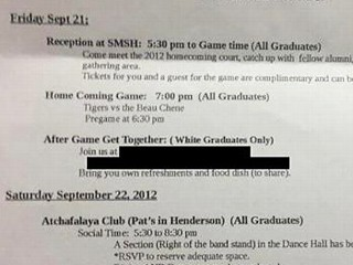 Class Reunion Letter Lists 'White Graduates Only' Party