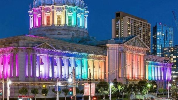 PHOTO: San Francisco City Hall lit up for LGBT Pride on June 24, 2017.