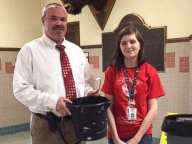 PHOTO: North High School principal Sherman Padgetts bucketful of praise from his students was the brainchild of senior Emily Jones.