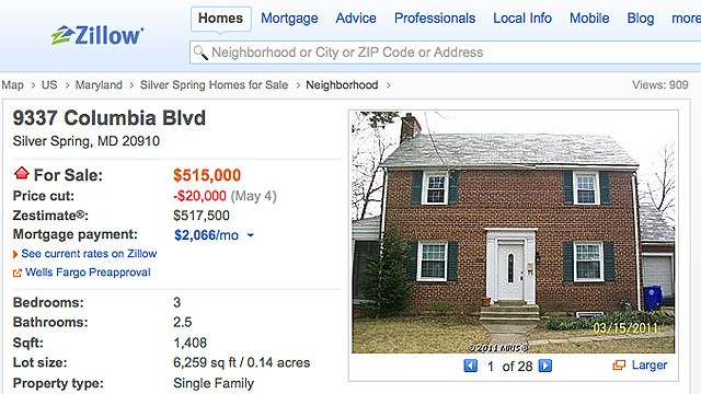 PHOTO: The real estate listing for the home at 9337 Columbia Blvd, Silver Spring, MD, as seen on Zillow.com.