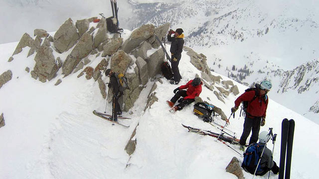 PHOTO: Skiers are shown on the side of the Pfeifferhorn in Utahs Wasatch Mountains. Jewel Lund, at left, is headed down the canyon chute.