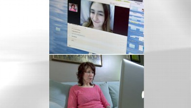 Talyaa Liera, bottom, talks via Skype to her daughter Serena, seen on her computer, top.