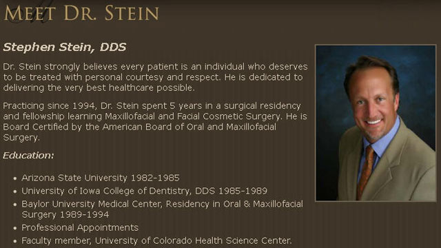 PHOTO: A screen grab from Dr. Stephen Steins former dental practice website.