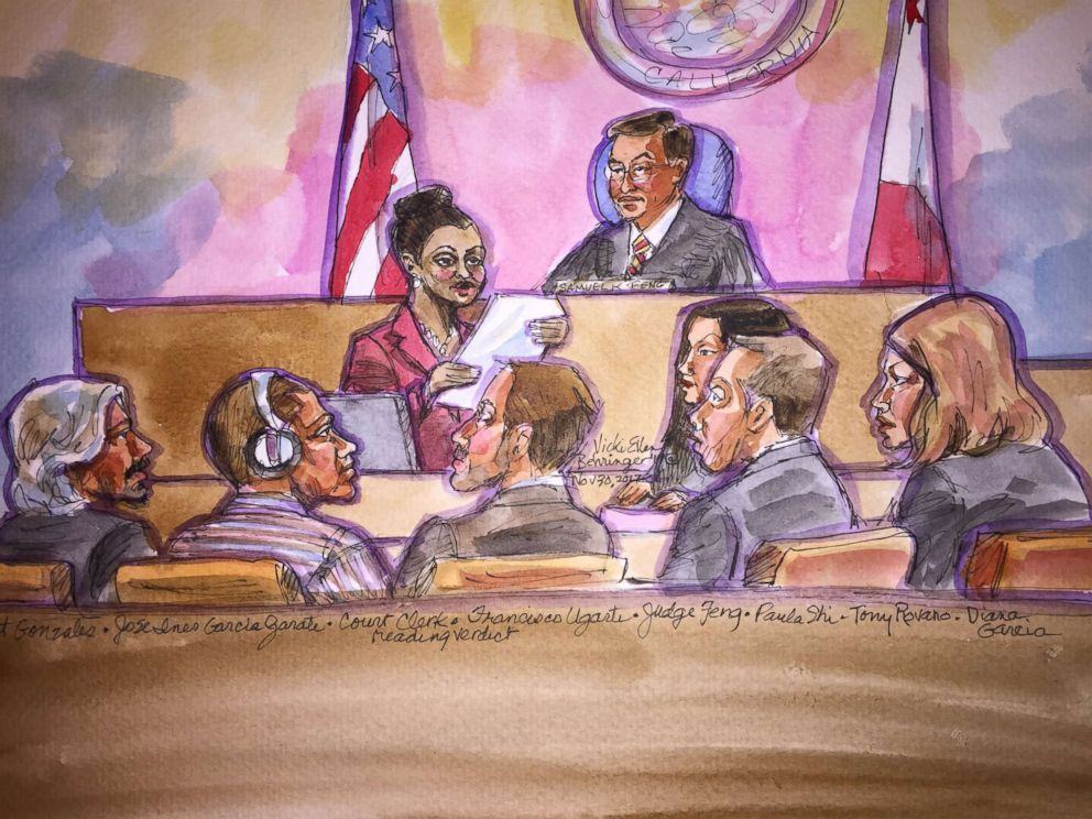 PHOTO: A courtroom sketch of Garcia Zarate, second from left, listening to the verdict being read in San Francisco on Nov. 29, 2017.