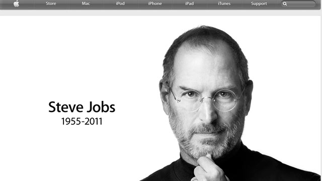 PHOTO: A screenshot of the Apple website confirms that Steve Jobs has died, Oct. 5, 2011.