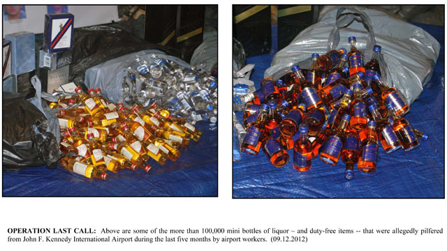 PHOTO:18 people have been charged in the theft of mini bottles of alcohol and duty-free merchandise from JFK Airport.