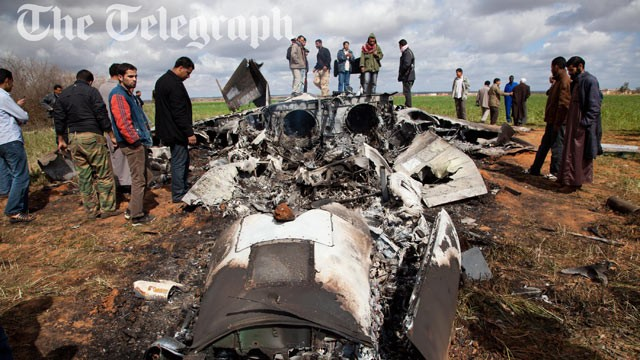 PHOTO Libya: US airmen safe after jet crashes near Benghazi