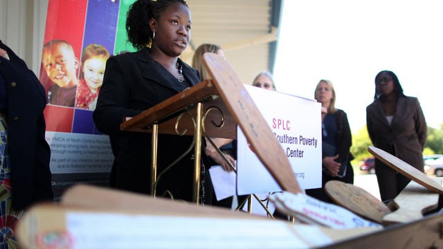 PHOTO: Tenika Jones, 32, speaks during a press conference on the use of corporal punishment in Florida's school system April 7, 2011.  Jones' 5 year-old son was recently paddled by the principal of Joyce Bullock Elementary for rough-housing with a friend 