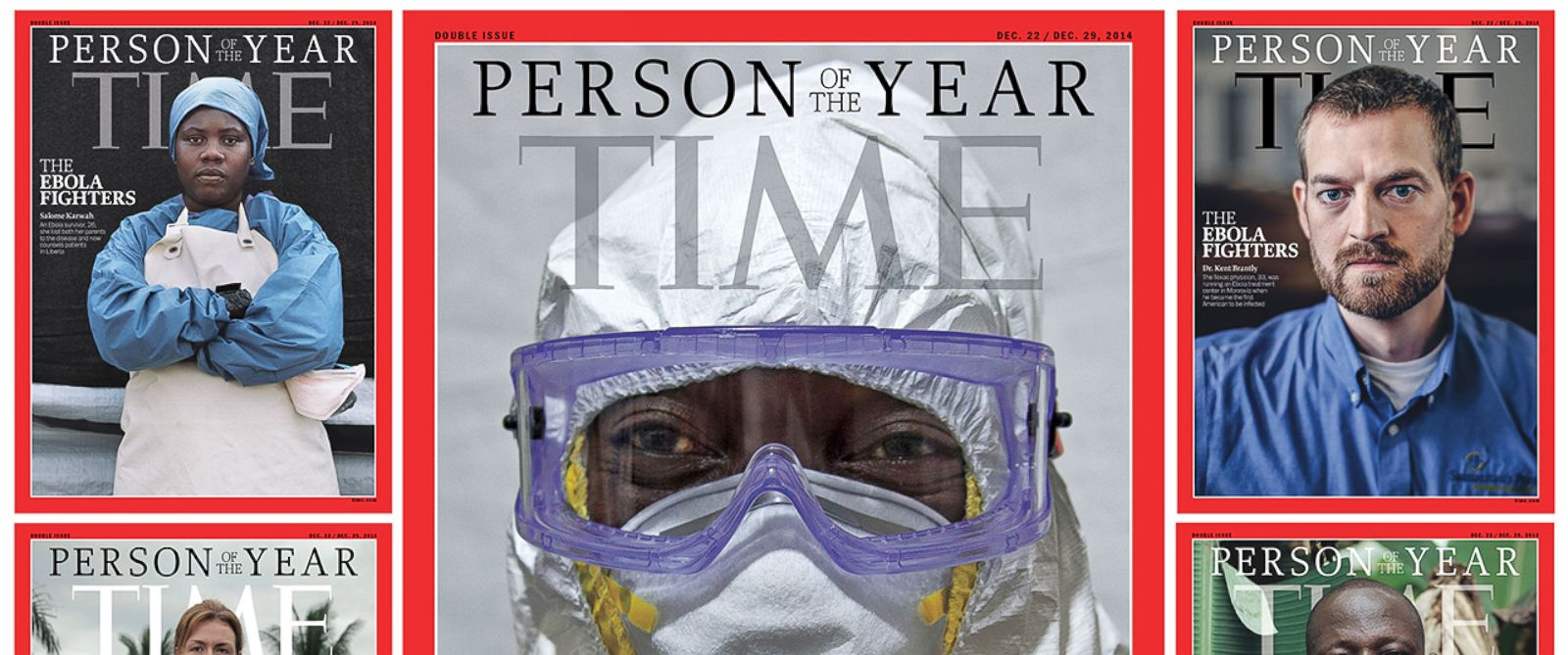 "PHOTO: Pictured are the Dec. 2014 TIME ""Person of the Year"" covers."