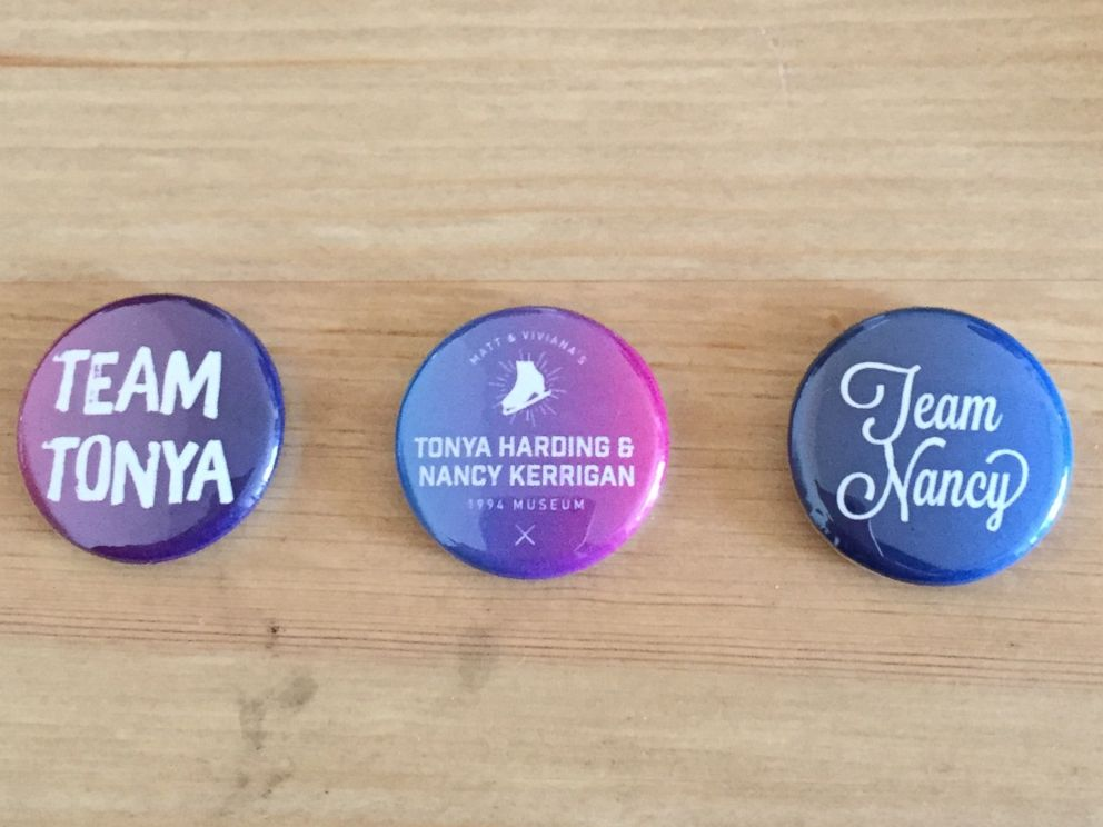 PHOTO: A set of buttons were created to promote the Tonya Harding and Nancy Kerrigan Museum 1994.