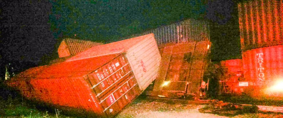 PHOTO: A Norfolk Southern train derailed in Knoxville, Tennessee on October 21, 2017.