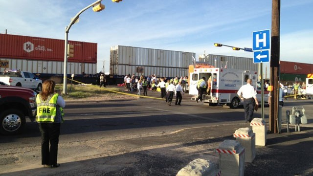 PHOTO: Garfield and Front Street in Midland, Texas after a fatal train accident on November 15, 2012 that left four dead, 17 wounded after train hits a parade of veterans.
