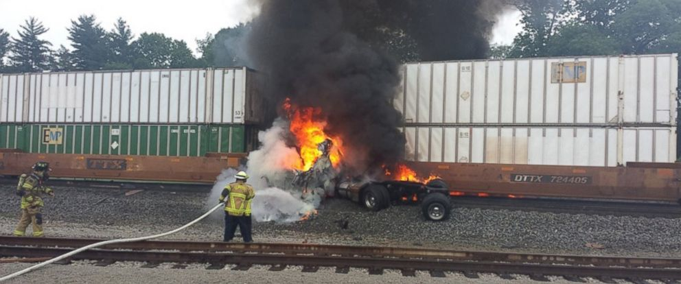 PHOTO: The truck loaded with lighter fluid burst into flames as a fast-moving train smashed into it.