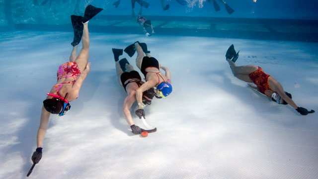 PHOTO: Underwater hockey is a relatively unknown, unique sport that is gaining speed in the United States.