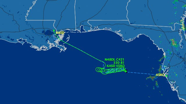 The government is tracking an unresponsive twin engine plane now circling in the Gulf of Mexico near Florida. (Flightaware.com)