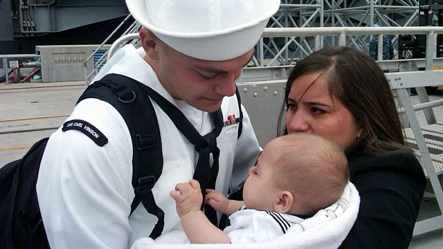 PHOTO: Sailor from USS Carl Vinson with family