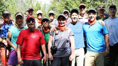 PHOTO: A group of military veterans and Exum Rock climb guides prepare to climb the 13,776 ft. summit of Grand Teton at Grand Teton National Park in Wyoming.