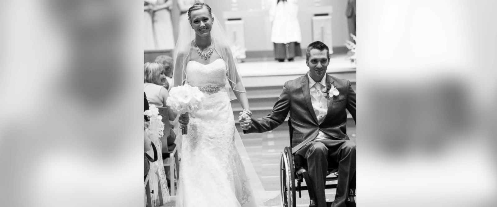 PHOTO: Sgt. Joey Johnson, who suffered a spinal cord injury in a motorcycle accident in 2012, married on June 28, 2014.