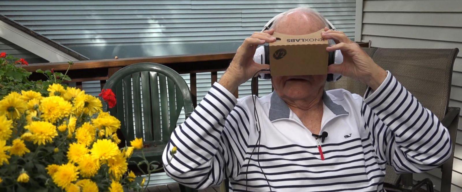 PHOTO: Veteran Dale Garrett views war memorials in virtual reality using Jaunt Studios technology.