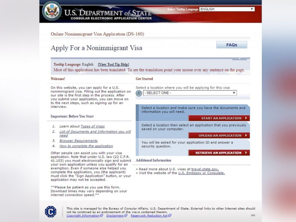 PHOTO: The U.S. Department of State non-immigrant visa application website is seen in a screen grab made on March 30, 2016.