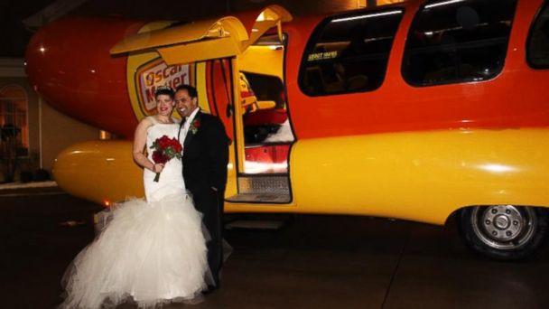 ht wienermobile wedding tk 131223 16x9 608 Wienermobile Is Brides Ride to Wedding Reception