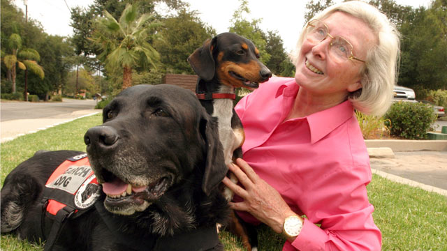 PHOTO: Former gym teacher Wilma Melville heads the National Disaster Search Dog Foundation, which she started in 1996. The center based in Ojai, Calif., trains dogs and firefighters in disaster search for free.