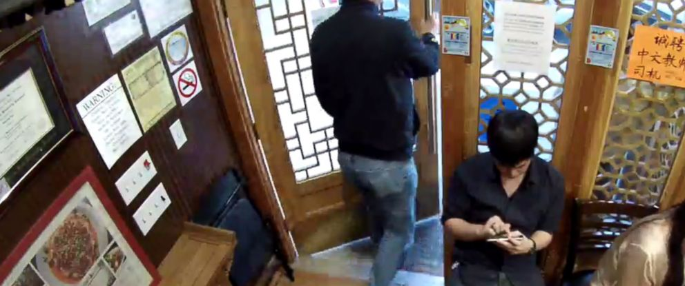 PHOTO: An image from a video posted by Wonderful Restaurant in Millbrae, Calif. on March 22, 2015 shows a customer leaving the establishment.