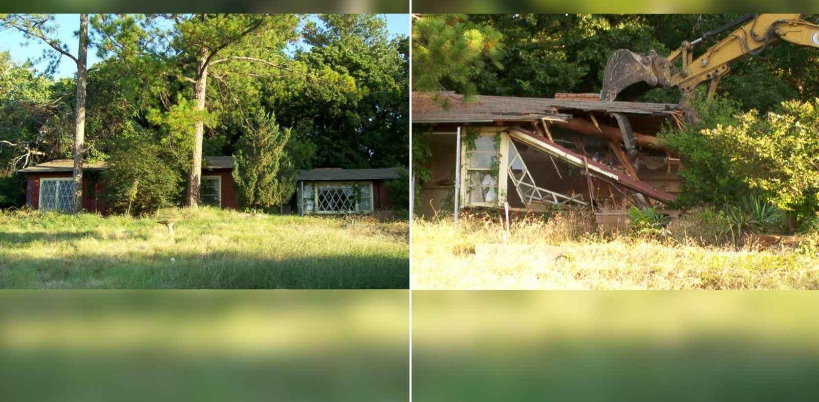 PHOTO: David Underwoods house, left, had been in his family for decades before the city mistakenly demolished it, right.