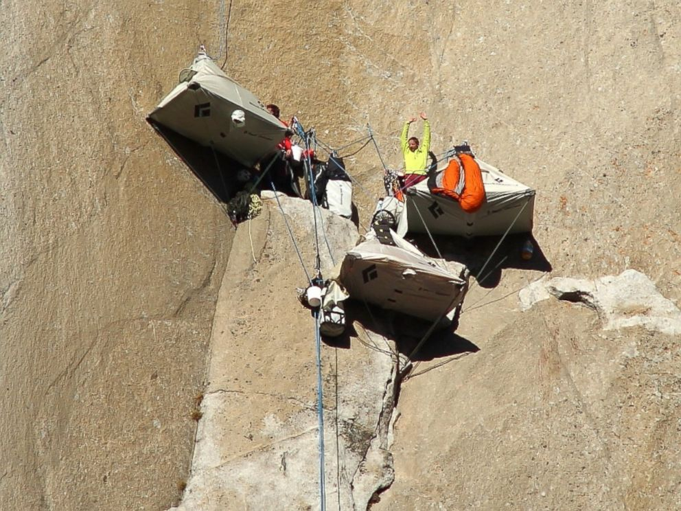 PHOTO: Kevin Jorgeson and Tommy Caldwell are seen in this undated photo in their camp on the face of El Capitan in Yosemite National Park, California.