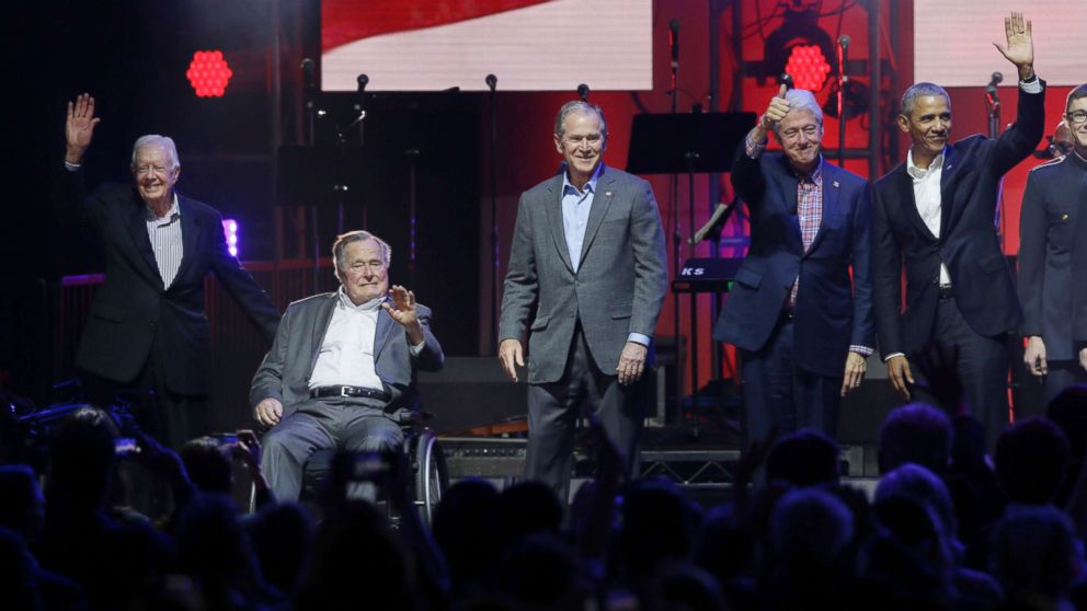 Trump praises 5 ex-presidents in video for hurricane relief concert