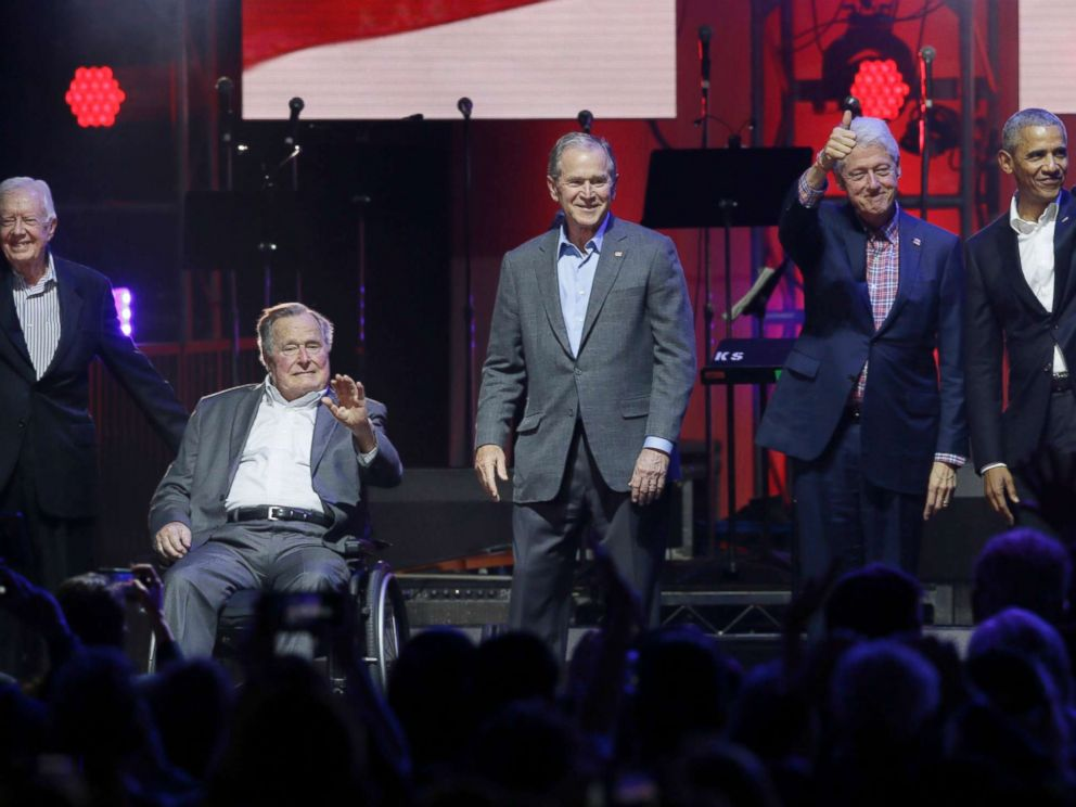 PHOTO: Former Presidents Jimmy Carter, George H.W. Bush, Bill Clinton, George W. Bush, and Barack Obama attend a concert at Texas A&M University benefiting hurricane relief efforts in College Station, Texas, Oct. 21, 2017.