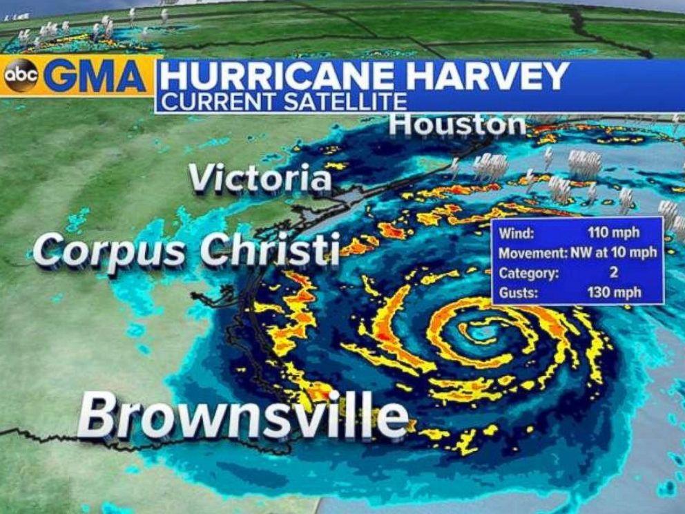PHOTO: A satellite image shows Hurricane Harvey steering toward the Texas coast around 10 a.m. CDT, Aug. 25, 2017.