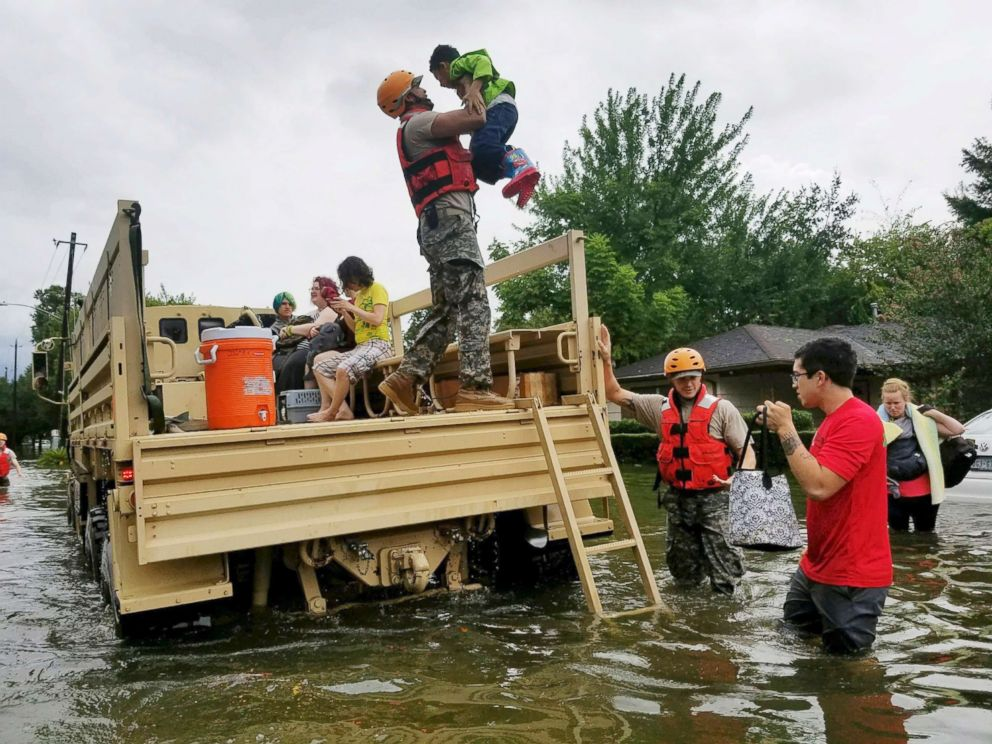 PHOTO: Texas National Guard soldiers arrive to aid citizens in heavily flooded areas from the storms of Hurricane Harvey in Housto, Aug., 27, 2017.