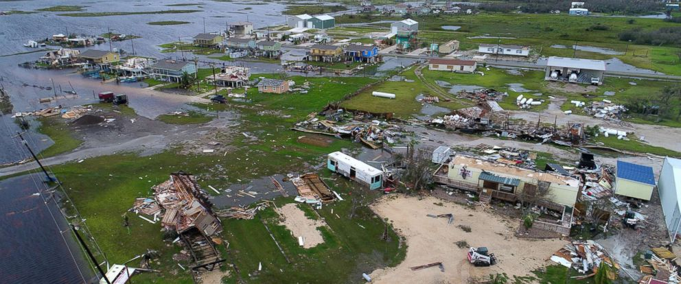 PHOTO: Aerial footage shows damage to a neighborhood near Burks Mobile Home Service in Rockport, Tx., after Hurricane Harvey.