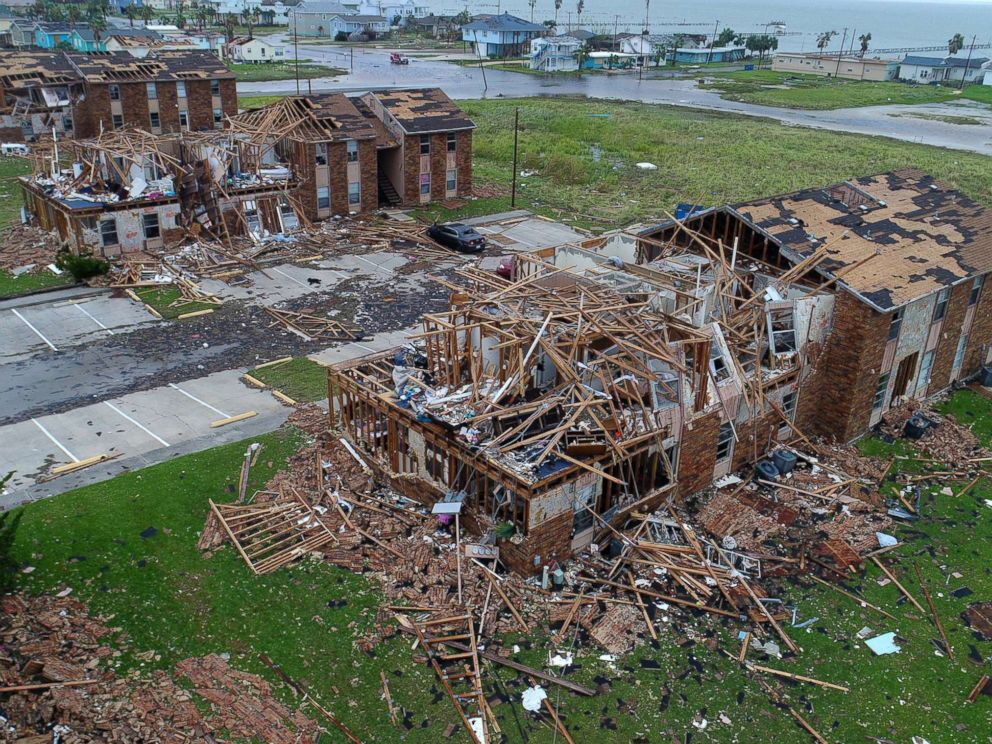 PHOTO: Aerial footage shows damage to Salt Grass Landing Apartments in Rockport, Tx.