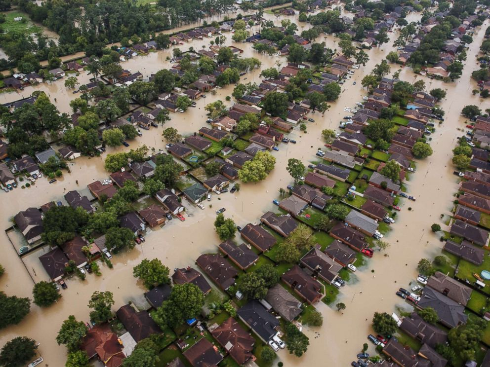 PHOTO: Residential neighborhoods near the Interstate 10 sit in floodwater in the wake of Hurricane