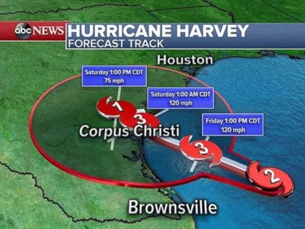 PHOTO: Hurricane Harvey is expected to hit Texas as a category 3 storm when it makes landfall around 1:00 a.m. CDT, Aug. 26, 2017.