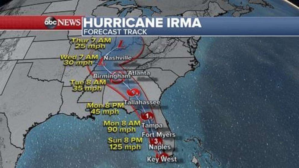 Hurricane Irmas path  ABC News