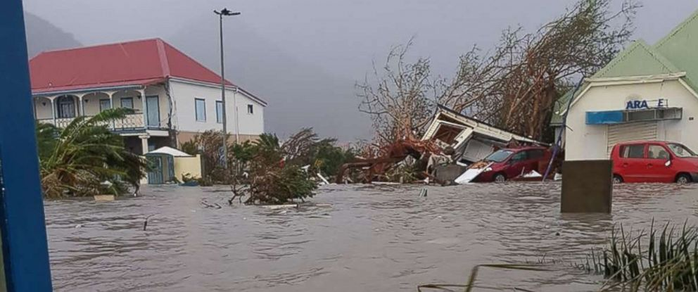 PHOTO: A flooded street on the island of Saint-Martin, after high winds