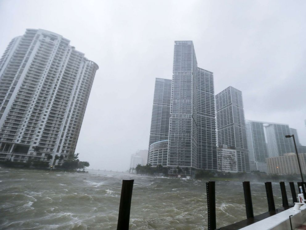 PHOTO: The rough waters where the Miami River meets Biscayne Bay shows the full effects of Hurricane Irma strike in Miami, Florida, Sept. 10, 2017.