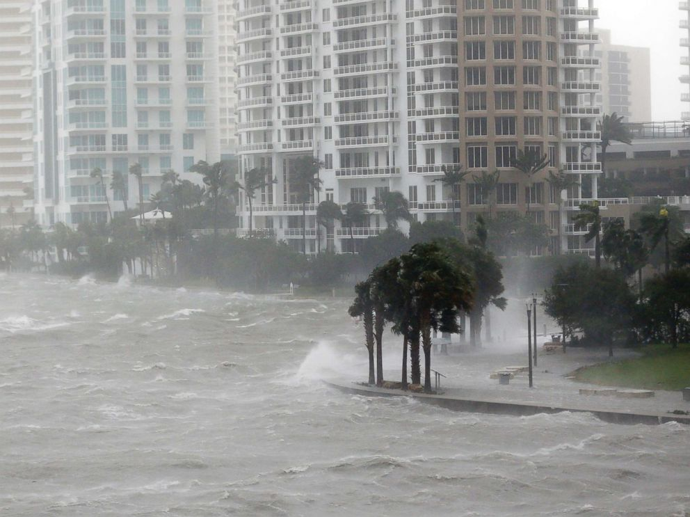 PHOTO: Waves crash over a seawall at the mouth of the Miami River from Biscayne Bay, Fla., as Hurricane Irma passes by, Sept. 10, 2017, in Miami.
