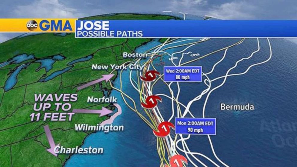PHOTO: Jose possible paths as of Sept. 15, 2017.