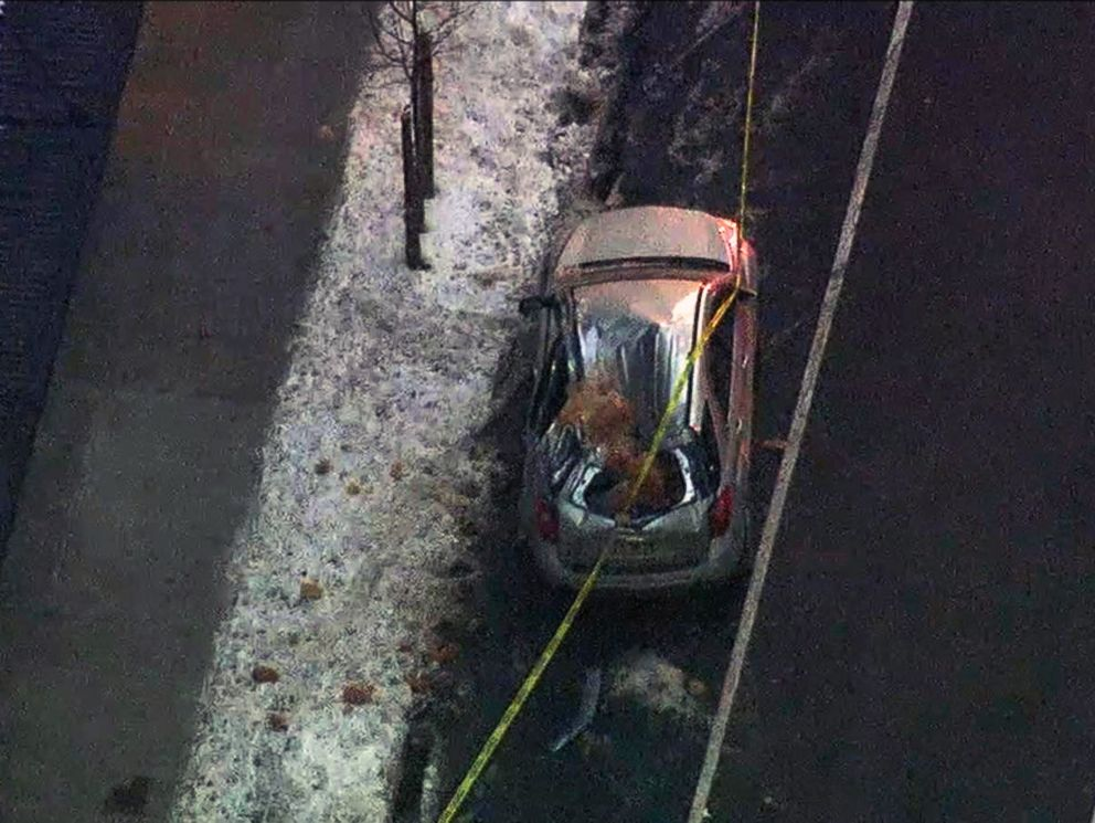 Falling Ice Demolishes Parked Car on Manhattan Street
