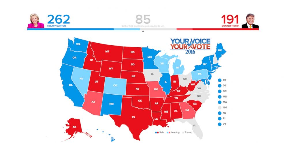 Electoral Map Forecast Who Will WinClinton Or Trump ABC News - Us electoral map 2016 clinton winer
