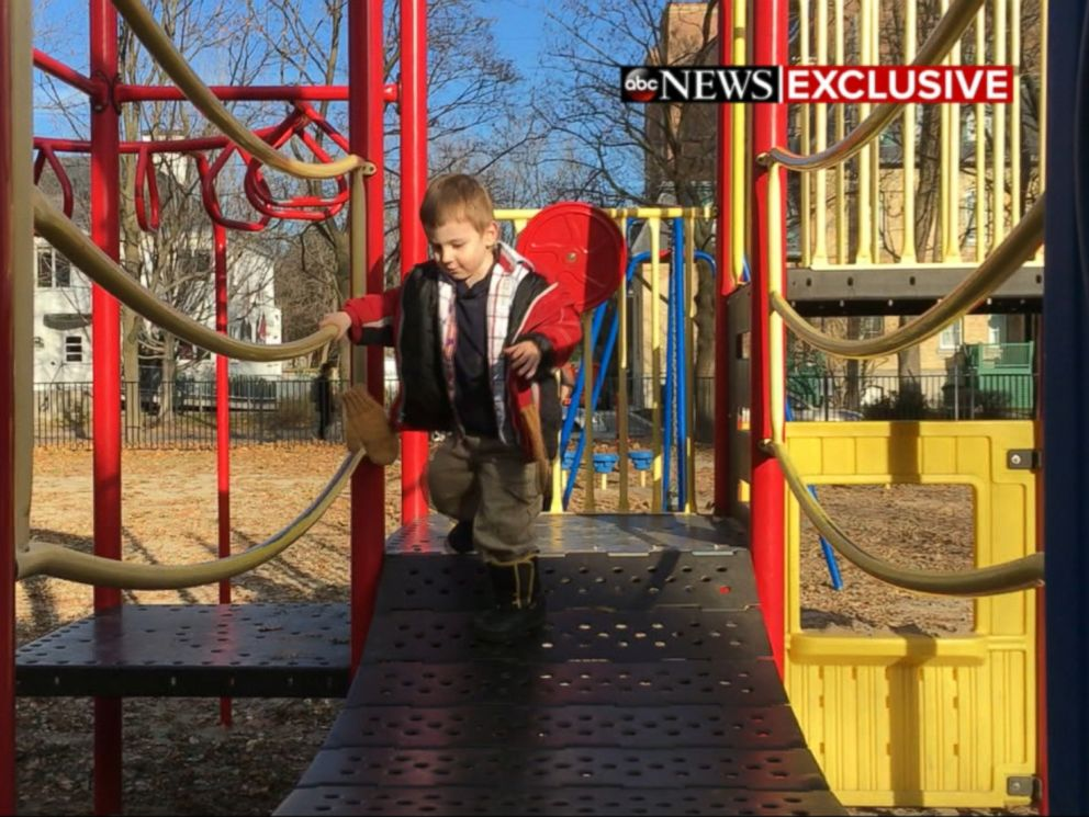 PHOTO: The Boyles oldest son, who was born in Taliban captivity, plays on a playground.