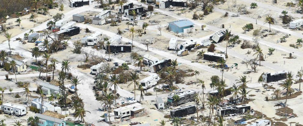 PHOTO: Damage to a mobile home community can be seen in the Lower Florida Keys after Hurricane Irma struck the state, Sept. 12, 2017.