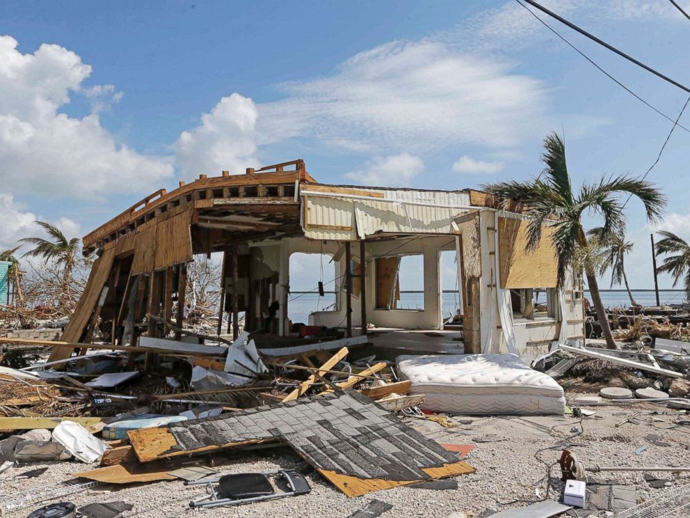 PHOTO: Debris surrounds a destroyed structure in the aftermath of Hurricane Irma, Sept. 13, 2017, in Big Pine Key, Fla.